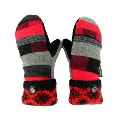 Red and black wool mittens for women made in Wisconsin from recycled wool sweaters and other woolens. These mittens are so much fun to make and they