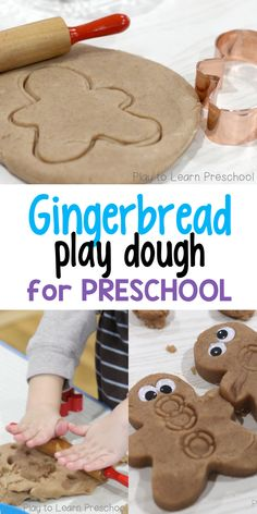 Soft, Sweet Gingerbread Play Dough - Preschool Activities - Play dough provides a great sensory experience for preschoolers. The addition of ginger and cinnamo - Preschool Christmas, Christmas Activities, Christmas Themes, Preschool Activities, Holiday Crafts, Christmas Crafts, Xmas, Winter Activities, Christmas Cookies