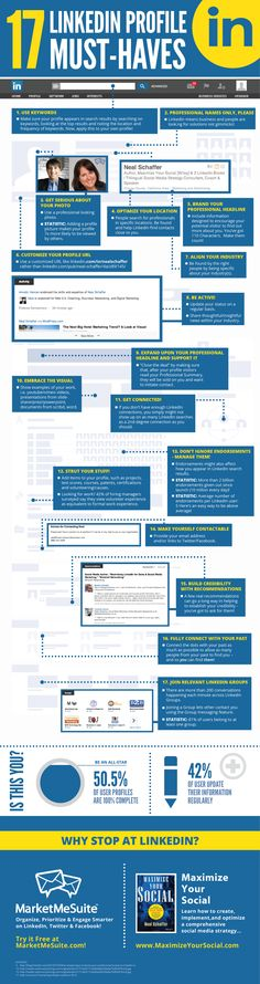 17 LinkedIn Profile Must-Haves  #interesting #infographics #charts #Social #Media #Interesting #Infographic #Graphics #information #informative #educate