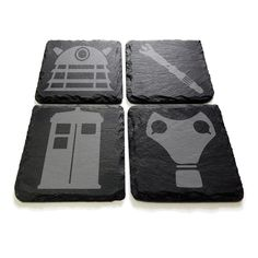 A set of 4 in-house produced slate coasters inspired by a popular cult classic sci-fi show.