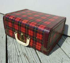 cute plaid vintage suitcase luggage child's dolls 50s - this is like Katy's luggage pieces.....b