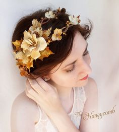 fall wedding headpiece rustic bridal crown autumn by thehoneycomb.. Maybe I can make something like it