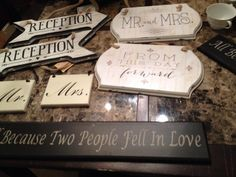 These are examples of a variety of pre-made wedding signs that were used at 1899 Farmhouse weddings.