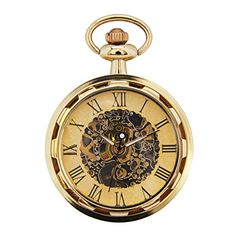 AMPM24 Unisex Mechanical Pocket Watch Bronze Skeleton With Chain WPK244 - Main Features: - Skeleton case. - Mechanical movement. - Skeleton dial. - Removable chain with hook. Specification (approximate) - Case diameter: 44mm. - Case thickness: 13.5mm. - Case Material: alloy - Chain Length: 340mm (hook included). - Chain Material: alloy. Package Includes: - 1 x Pocket W...