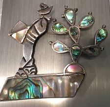 Vintage TAXCO MEXICO Abalone Sterling Silver Brooch Pin 16.4g