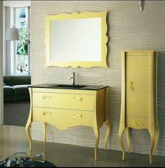 Muebles baño vintage color oro, pileta negra