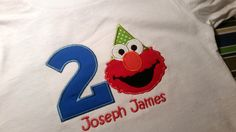 Elmo birthday party hat onesie or t shirt Toddler Boys Blue green and Red Elmo First Second Birthday Party T Shirt or Onesie by EverleeBoutique on Etsy