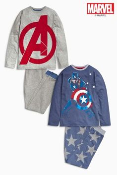 Buy Blue Captain America Jogger Pyjamas Two Pack from the Next UK online shop