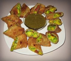 avacado eggrolls with cilantro dipping sauce from the cheesecake factory. Can't believe how easy these are to make. Hardest part is making a special trip to the oriental groccery to get the tamarind & etc for the dipping sauce which BTW you will need to have bc it really makes these rolls! Delicious!!!