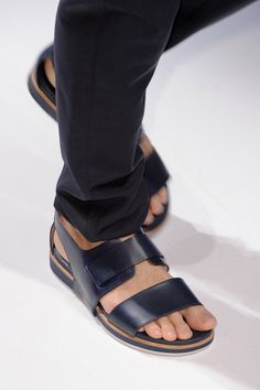 Black Leather Wide Strap Sandals, by Salvatore Ferragamo. Men's Spring Summer Fashion.