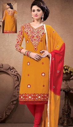 Get Latest Beautiful Traditional Orange Cotton #PartyWear Dresses Online   #Price INR- 2173 Link- http://alturl.com/4obdu
