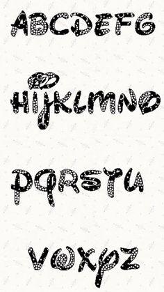 Patrón de plantilla abecedario Disney Font para imprimir en
