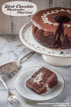 Recipe: Chocolate Marshmallow Cake Inspired by Hostess Cupcakes - Eat the Love Chocolate Marshmallow Cake, Chocolate Marshmallows, Chocolate Desserts, Marshmallow Cream, Homemade Chocolate, Chocolate Cake, Frosting Recipes, Cupcake Recipes, Cupcake Cakes