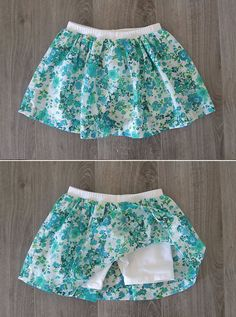 Add fabric to purchased shorts to make a cute skirt with attached shorts - this looks so easy!