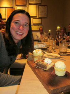 Scarlet Paolicchi of Family Focus Blog at Omni Nashville Kitchen Notes with dessert
