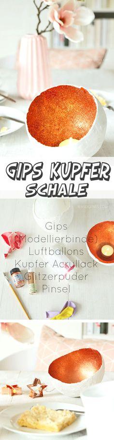 DIY GIPS KUPFER SCHALE für Teelichter | Material: Gips, Luftballon, Kupfer Acryllack, Glitzerpuder, Pinsel | waseigenes.com