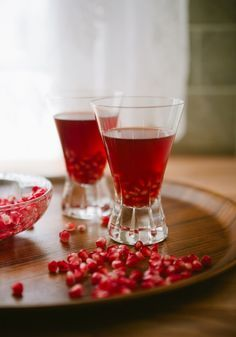"""Pomegranate """"Manhattan"""": gin, pomegranate juice, sweet vermouth, lemon juice, Angostura bitters 