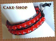 Bracelet ruban double perles de verre rouges de Cake shop - Bijoux gourmands sur DaWanda.com