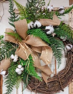 Farmhouse Cotton / Fern Wreath