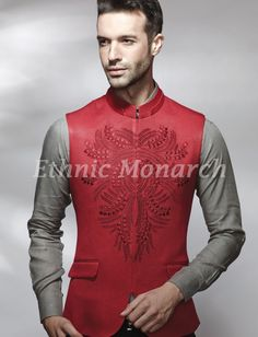 Nehru style red jacket with embroidery and two pockets.Slight variation in colour might be possible. All other accessories are for photographic purpose. Nehru Jacket For Men, Nehru Jackets, Indian Groom Wear, Indian Wear, Indian Men Fashion, Mens Fashion, African Fashion, Prince Suit, Modi Jacket