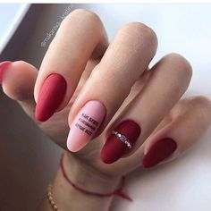 15 Stunning Red Manicure Almond Nails Art Design For Fashion Woman Page 3 of 15 Matt Nail Design Almond Nail Art, Almond Nails, Easter Nail Designs, Nail Art Designs, Nails Design, Hair And Nails, My Nails, Nailed It, Red Manicure