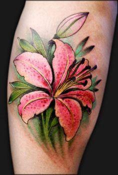 lily flowers tattoo 2 - 60 Beautiful Lily Tattoo Ideas <3