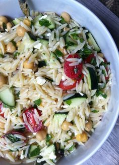 Summer Orzo Pasta Salad - http://www.acedarspoon.com/summer-orzo-pasta-salad/ delicious and i didn't even use the basil or mint!