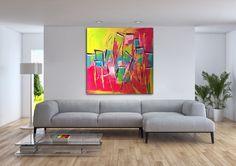 """""""Cabanas"""" (Peinture),  24x24x1,5 in par Viv """"Cabanas"""" dans un décor de iartview.  Cette toile est en souvenir de mon excursion dans la Vallée du paradis au Maroc non loin d'Agadir.  Plein de petites cabanes et kiosques où l'on vend du jus d'oranges fraîches."""