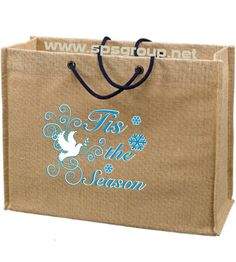 Jute Tote with Rope Handles - Sturdy eco tote with laminated interior for added strength and easy cleaning.  Custom printed. #jutetotes, #jutetotebags