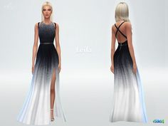Gradient dress Leila with side cutout by starlord at TSR via Sims 4 Updates