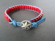 Handmade Men's Magnetic Red White Blue Leather Surf Soccer Bracelet  #Handmade #Magnetic