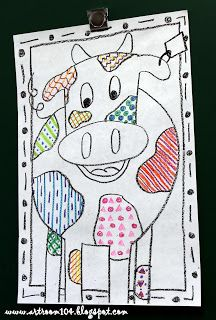 Art Room 104: Kindergarten: Pattern Cows- pattern Grids for lesson about lines