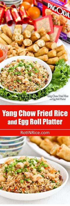 Yang Chow Fried Rice, a popular fried rice cooked with ham, shrimps, carrots, green peas, and eggs. Delicious served with Pagoda eggrolls. | http://RotiNRice.com