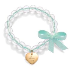 Love mint  Lilou bracelet, with crystal pearls and a gold-plated heart! Price : 90$ http://lilouparis.com/en-us/ready_made_sets#1108   #lilou #heart #bracelet #platedgold #love #crystal #mint #ribbon