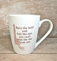 Firefly Serenity Quote Mug, Burn the Land, Boil the Sea, You Can't Take Sky From Me, 14 oz Recycled Mug, Malcom Reynolds Joss Whedon SciFi by SecondChanceCeramics on Etsy https://www.etsy.com/listing/202805904/firefly-serenity-quote-mug-burn-the-land