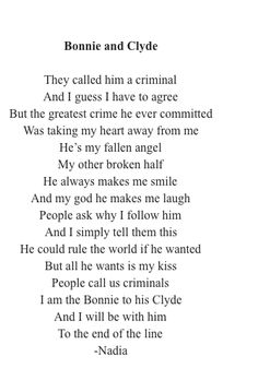 Bonnie and Clyde Bonnie And Clyde Quotes, Bonnie Y Clyde, Bonnie And Clyde Tattoo, Bonnie Parker, Poem Quotes, True Quotes, Words Quotes, Bad Boy Quotes, Sayings