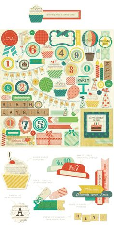 Crate Paper-party day: lots of cupcakes in this collection. also love the washi tapes and letter stickers