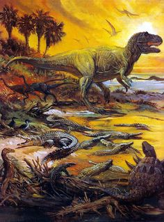 A Tyrannosaur strolls leisurely past a river bed full of crocodilian ancestors.