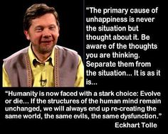 Eckhart Tolle Quote The Primary cause of unhappiness. Ego Quotes, Wisdom Quotes, Life Quotes, Peace Quotes, Ekhart Tolle, Chakra, Motivational Quotes, Inspirational Quotes, Human Mind