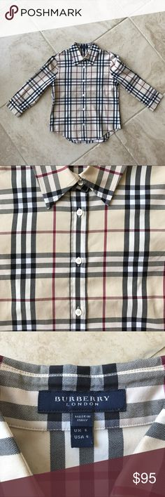 Burberry Plaid Shirt Brand new item without tags! Kids size 4 but runs a little big. Burberry Shirts & Tops Button Down Shirts