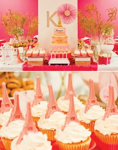 pink-paris-dessert-table; chocolate eiffel tower cupcake toppers