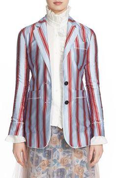 Burberry Panama Stripe Cotton & Silk Pajama Blazer available at #Nordstrom