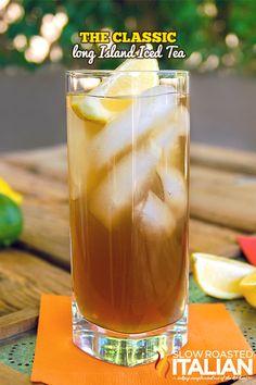 Classic Long Island Iced Tea (1/2 oz gin 1/2 oz tequila 1/2 oz vodka 1/2 oz white rum 1/2 oz triple sec 1/2 oz simple syrup  1 oz lemon juice 2 oz cola)