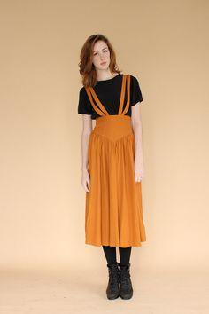 vintage 80s pumpkin spice suspender skirt / by clevernettle, $52.00