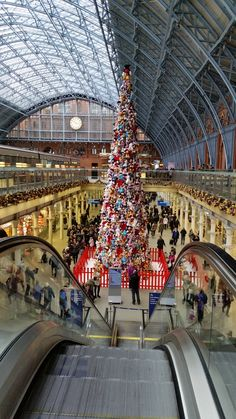 Christmas tree made from Disney toys. St Pancras International Rail Station, London, 2015