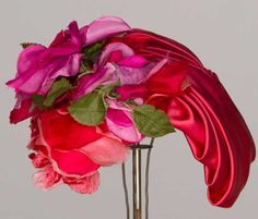 Bes-Ben dark pink satin with cloth roses hat, 1950's.  #millinery #judithm #hats