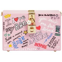 Dolce & Gabbana Women Dolce Box Graffiti Painted Wood Clutch (58.035.660 VND) ❤ liked on Polyvore featuring bags, handbags, clutches, pink, dolce gabbana purses, pink handbags, wooden purse, wood handbag and wood purse