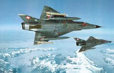 Swiss Mirage III over Alps.