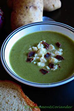 Lauch Maronen Kartoffel Suppe mit feta und bacon
