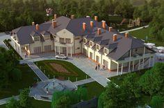 Projekt budynku usługowego, mogący pełnić funkcję domu weselnego lub pensjonatu K-29, parterowy z poddaszem użytkowym, bez podpiwniczenia. Budynek można również zaadaptować na dom opieki dla osób starszych.